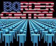 Border Control text with American flag and crowd of people illustration. Border Control text with American flag and crowd of people 3d illustration Royalty Free Stock Photography
