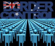 Border Control text with Australian flag and crowd of people illustration. Border Control text with Australian flag and crowd of people 3d illustration vector illustration
