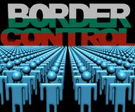 Border Control text with Bulgarian flag and crowd of people illustration. Border Control text with Bulgarian flag and crowd of people 3d illustration Royalty Free Stock Photos