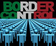 Border Control text with Italian flag and crowd of people illustration stock illustration