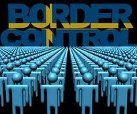 Border Control text with Swedish flag and crowd of people illustration. Border Control text with Swedish flag and crowd of people 3d illustration Stock Photos