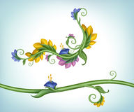 Frame border with flowers and green leaves Royalty Free Stock Photography