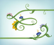 Frame border line with flowers and green leaves Stock Photos