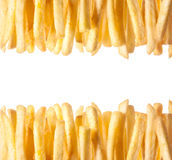 Border of crisp golden French Fries Royalty Free Stock Photos