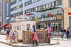 Border cross checkpoint Charlie in Berlin Royalty Free Stock Images