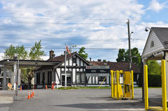 Border crossing at Beebe Plain, Vermont. The US and Canadian customs stations are almost side-by-side in the tiny Vermont village of Beebe Plain Stock Images