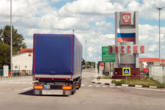 Border crossing checkpoint between Ukraine and Russia. International Automobile Border Checkpoint Hoptivka In Kharkiv Region, Ukraine stock images