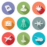Border crossing Icons Set. Vector Illustration. Royalty Free Stock Photos