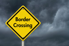 Border Crossing Road Sign Royalty Free Stock Photography