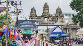 border crossing between Thailand and Cambodia stock photography