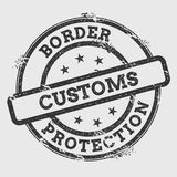 Border Customs Protection rubber stamp isolated. Border Customs Protection rubber stamp isolated on white background. Grunge round seal with text, ink texture Royalty Free Stock Photos