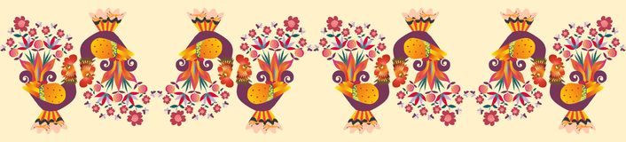 Border with cute cartoon cocks. Vector illustration. Year of the rooster. Textile, paper, wallpaper, web design Royalty Free Stock Image