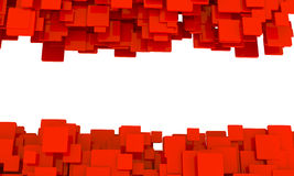Border of 3d red cubes. Isolated on white in different sizes in a scattered layers and a random pattern with perspective and a blank central copyspace Stock Image