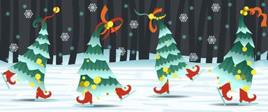 Border with dancing Christmas trees. Christmas tree dancing on the rink in the woods. In the background trees and snow drifts. Night, snowing. Vector Stock Image