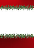 Border decorated with holly leaves Stock Photo