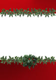 Border decorated with holly leaves. A background illustration featuring a top and bottom border decorated with holly leaves Stock Photography