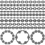 Border decoration elements patterns and round frames in black and white colors Stock Images