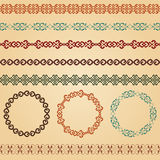 Border decoration elements patterns and round frames Stock Photo