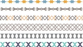 Border decoration elements. Vector border decoration elements patterns in different colors Vector Illustration