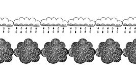 Border of decorative clouds for decoration, cards, scrapbooking. Doodles illustration Stock Images