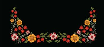 Border with decorative yellow and red flowers Stock Images