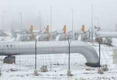 Border delivery station at the natural gas pipeline. Stock Photo