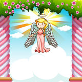 Border design with angel flying Stock Photography