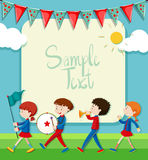 Border design with band marching in the park vector illustration