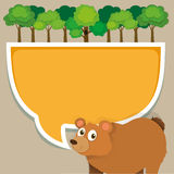 Border design with bear and tree Royalty Free Stock Image