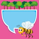 Border design with bee and trees Royalty Free Stock Photo