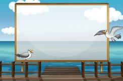 Border design with birds at sea Royalty Free Stock Photo