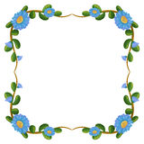 A border design with blue flowers Stock Images