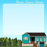 Border design with blue house Royalty Free Stock Image