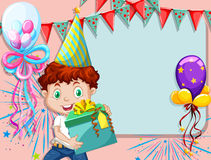 Border design with boy and present. Illustration Royalty Free Stock Photography