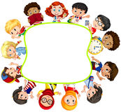 Border design with boys and girls Royalty Free Stock Images
