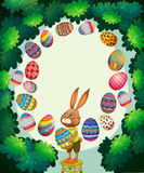 Border design with bunny and easter eggs Stock Photos