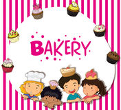 Border design with children and bakery Royalty Free Stock Photography