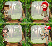 Border design with children in the jungle Royalty Free Stock Photography