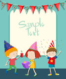 Border design with children at party Royalty Free Stock Photo