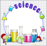 Border design with children and science equipments Royalty Free Stock Photos