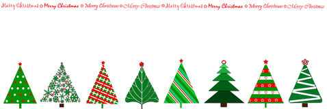 Border design with christmas trees in a row. Border design with row of christmas trees in various stylizations and greetings Royalty Free Stock Photos