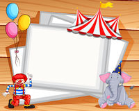 Border design with clown and elephant Stock Photo