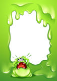 A border design with a crying green monster Royalty Free Stock Images