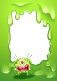 A border design with a crying one-eyed monster. Illustration of a border design with a crying one-eyed monster Royalty Free Stock Photos