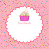 Border design with cupcake Royalty Free Stock Images
