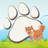 Border design with dog and footprint Royalty Free Stock Photo