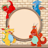 Border design with dragons on brick wall Royalty Free Stock Photos