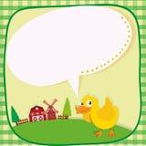 Border design with duckling on the farm Stock Photos