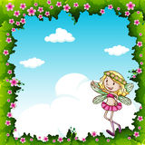 Border design with fairy and flowers Stock Photo