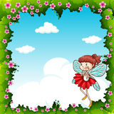 Border design with fairy flying. Illustration royalty free illustration